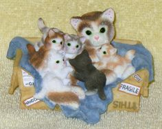 "Vintage rare calico kittens "" handle with care "" cat figurine by Catloversdream on Etsy"