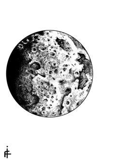 pointillism moon tattoo - Google Search                                                                                                                                                      Más