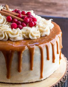 Gingerbread Cake with Cinnamon Cream Cheese Frosting and Caramel Drizzle