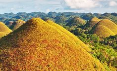 The Chocolate Hills on the island of Bohol in the Philippines - local lore has it that the mounds were formed from the tears of a giant who fell in love with a local girl. (From: Photos: 10 Places That Are Out of this World )      Read more: http://www.budgettravel.com/slideshow/photos-out-of-this-world-places,12562/#ixzz2BkxEZwuw