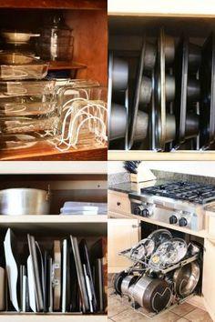 ktichen cabinet pots and pans organization Collage