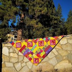 Carnival of Color- Quilt, Blanket, Comforter, Bedspread, Inspired by Kaffe Fassett Collective fabrics Picnic Blanket, Outdoor Blanket, Watercolor Quilt, Landscape Quilts, Yellow Fabric, Striped Fabrics, Mild Soap, Comforters, Carnival