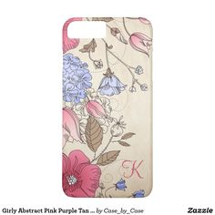 Girly Abstract Pink Purple Tan Floral iPhone 7