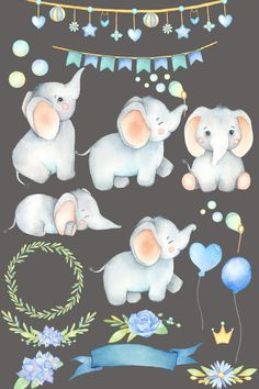 Elephant Clipart Watercolor Elephant Little Animal Hand Elephant Art, Elephant Nursery, Cute Elephant, Baby Clip Art, Baby Art, Elephant Illustration, Cute Illustration, Drawing Clipart, Watercolor Animals