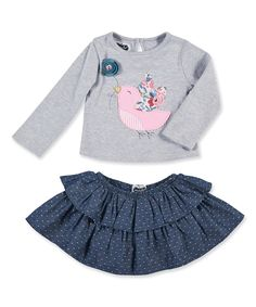 Take a look at this Gray & Navy Bird Top & Ruffle Skirt Set - Infant, Toddler & Girls today!