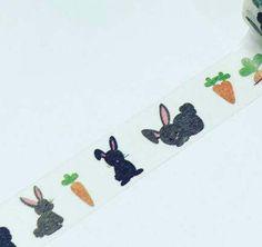 Bunny carrots washi Grey bunny washi bunny washi tape