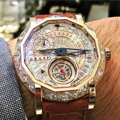 """Castro Luxury Watch """"storm diamonds for this Graff MasterGraff Tourbillon GMT Best Watches For Men, Luxury Watches For Men, Cool Watches, Unique Watches, Wrist Watches, Vintage Watches, Rolex Daytona Black, Swiss Army Watches, Expensive Watches"""