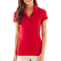 Arizona Short-Sleeve Polo Shirt Red School Uniform ($9.99) ❤ liked on Polyvore featuring tops, red top, summer tops, arizona shirts, red short sleeve top and shirts & tops