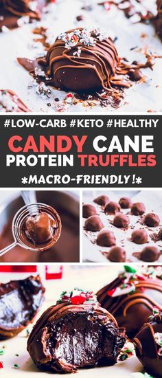 These Candy Cane Protein Truffles are the perfect Christmas party treat. They are super healthy, low-calorie, low-carb, gluten-free, and even keto! Protein Cake, Whey Protein, Healthy Protein, Protein Isolate, Protein Muffins, Protein Cookies, Protein Recipes, Protein Snacks, High Protein