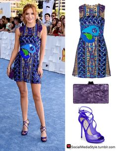 Buy Bella Thorne's MTV Movie Awards Multicolored Lace Dress, Purple Clutch, and Purple Sandals, here!