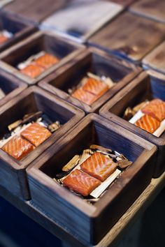 smoked salmon in a Wood box unique food presentation and Serving for Event Great idea for party Catering