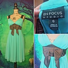 En Focus Womens Sz 6 Turquoise And Brown Ribbon Dress empire waist midi draped  | eBay