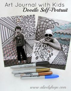 This doodle art self-portrait is a fun art project to do with your elementary to middle school aged child.  It's really fun to do as an adult, too! Perfect for art journals.