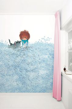 Fotobehang van KEK Amsterdam - Wallpaper Story 039 'Washing The Dog' door Fiep Westendorp