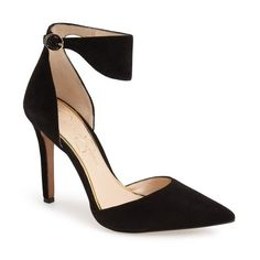 """Jessica Simpson 'Cita' d'Orsay Pump, 4"""" heel (765 SEK) ❤ liked on Polyvore featuring shoes, pumps, black, black shoes, jessica simpson pumps, d'orsay pumps, black ankle strap pumps and pointed toe pumps"""