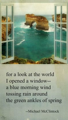 Tanka poem: for a look at the world-- by Michael McClintock.