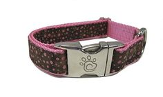 Chief Furry Officer 100 Percent Cotton Designer Fabric Robertson Blvd Dog Collar Medium Pink Webbing ** Want additional info? Click on the affiliate link Amazon.com on image.