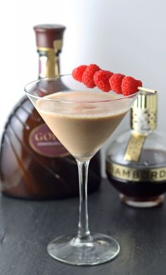 Chocolate Raspberry Martini | #cocktail honeyandbirch.com