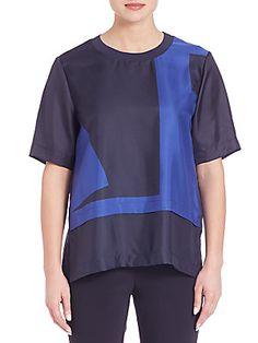 DKNY Silk Drop Shoulder Tee - Classic Navy - Size