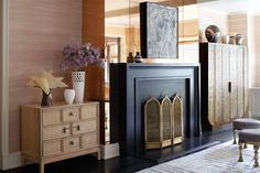Mirrored fireplace Cameron Diaz Apartment by Kelly Wearstler