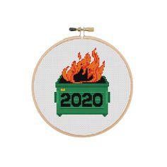 2020 Dumpster Fire Cross stitch pattern PDF instant download | Etsy Cross Stitch Hoop, Mini Cross Stitch, Simple Cross Stitch, Funny Cross Stitch Patterns, Cross Stitch Designs, Baby Patterns, Dumpster Fire, Pdf, Etsy Handmade