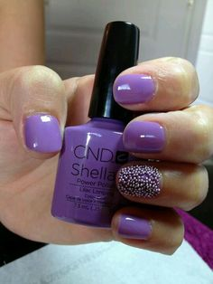Lilac shellac nails with caviar feature nail - by #Jenny Harris Nail Tech