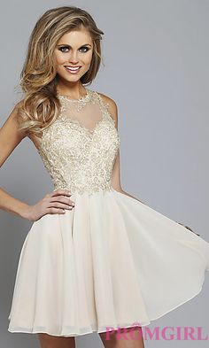 Lace Embroidered Homecoming Dress by Faviana S7668 at PromGirl.com