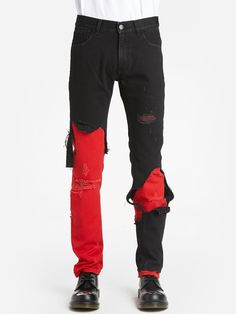 Raf Simons Jeans In Multicolor Red Jeans, Raf Simons, Slim, Mens Fashion, Fitness, Cotton, Shopping, Clothes, Style