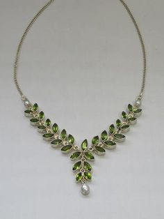 Delicate Peridot and Pearl Teardrop Necklace - Andrea Jaye Collection