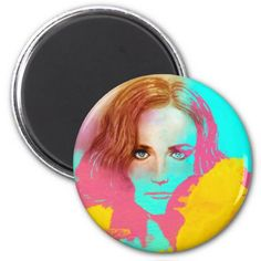 Colorful Girl Pop art Round Magnet - Intense - home gifts ideas decor special unique custom individual customized individualized