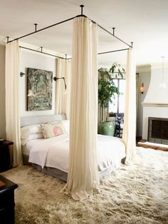 Canopy designs for beds hang your canopy from the ceiling home decor in bedroom decor romantic master bedroom and home bedroom canopy bed ideas with lights Cozy Bedroom, Dream Bedroom, Bedroom Romantic, Bedroom Curtains, Trendy Bedroom, Dark Curtains, Curtains Around Bed, Bedroom Bed, Feminine Bedroom