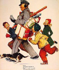 """The Jolly Postman"" ~ Norman Rockwell Christmas illustration."