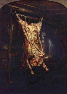 El buey desollado. Rembrandt (1606-1669). Escuela de Leyden y Amsterdan. Pintura holandesa.