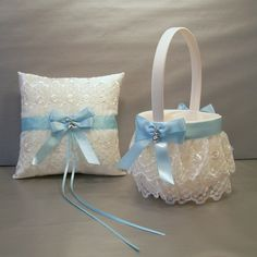Light Blue Wedding Bridal Flower Girl Basket And Ring Bearer Pillow Set On Ivory Double Loop Bow Hearts Diy Wedding Flowers, Wedding Crafts, Bridal Flowers, Blue Wedding, Wedding Ideas, Ring Bearer Pillows, Ring Pillows, Light Blue Flowers, Wedding Pillows