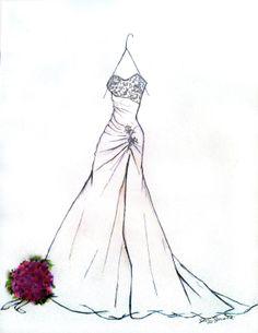 Custom Charcoal Wedding Bridal Dress Gown Art by JRobostelloArt, $55.00