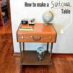 Find an end table at Goodwill and fasten the suitcase to it.