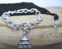 Hotel Del charm on double link bracelet.  We make custom charms!  Great Hotel gift designed by Classic Legacy.