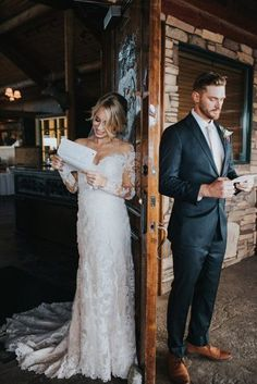 first look wedding photos bride and groom read letters to each other alex lasota photography