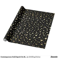 Contemporary Gold Speck On Black Wrapping Paper. #wrappingpaper