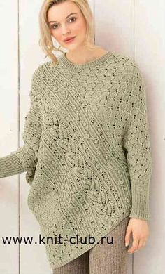 Пуловер-пончо спицами для женщин. Схемы и описание
