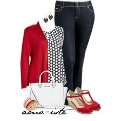 Black, Red & White - Plus Size by amo-iste on Polyvore featuring Chris & Carol, M&Co, Old Navy, MICHAEL Michael Kors, Thalia Sodi and plus size clothing