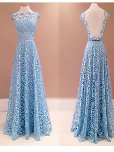 Long Custom Prom Dress,Prom Dresses Real Image, Blue Lace Prom Dresses, Elegant Formal Evening Dress, Lace Evening Gowns,Backless Prom Gowns. PD2107