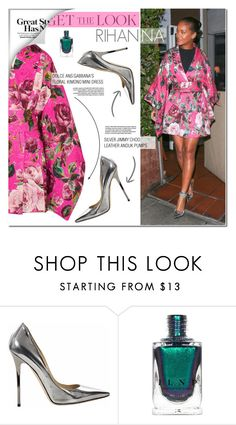 """""""Get the Look: Rihanna"""" by makeupgoddess ❤ liked on Polyvore featuring Jimmy Choo"""