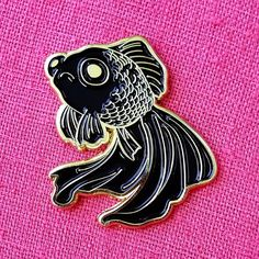 Sad Fish Soft Enamel Pin - Gold and Black - Lapel Pin - Goldfish Black Telescope