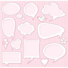 CLIPART PINK COMIC SPEECH BUBBLES | Royalty free vector design