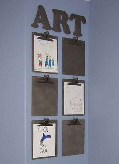 rotating art display - great for classroom, kid's room, craft room, etc Displaying Kids Artwork, Artwork Display, Display Wall, Display Boards, Display Ideas, Kid Art Displays, Photo Displays, Art For Kids, Crafts For Kids