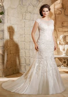 Crystal Beaded Embroidery with Sparkling Lace Appliques on Soft Net Morilee Bridal Wedding Dress