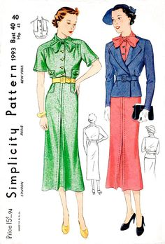 1930s 30s dress & suit jacket Simplicity 1993 bow collar saddle sleeves vintage sewing pattern reproduction