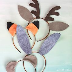 Make you own adorable felt animal ears in a fox, bunny, bear or deer design. Patterns and tutorial from handcrafted lifestyle expert Lia Griffith.