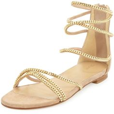 Stuart Weitzman Chaindown Strappy Flat Sandal ($520) ❤ liked on Polyvore featuring shoes, sandals, cashew, stacked heel sandals, flat sandals, flat leather sandals, strappy flats and open toe flats